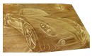 Engraved wood image lettering of cars show board display board