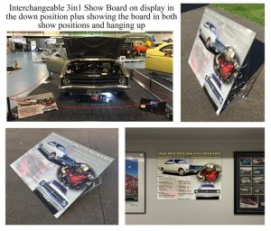 Interchangeable 3in1 acrylic perspex car show board display board for car show