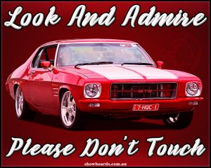 car show do not touch signs show boards