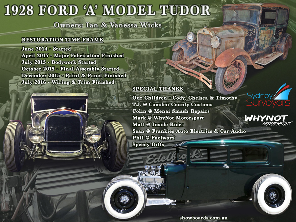 Ford Tudor Hot Rod Car show board display board show boards australia