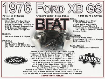 Ford BFAT XB GS Show Board Display Board Show Boards Australia