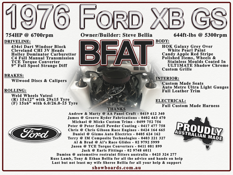 Ford BFAT XB GS Show Board Display Board Show Boards Australia