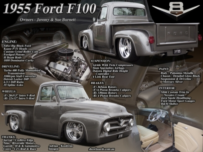 Ford F100 pickup car show board display board show boards australia
