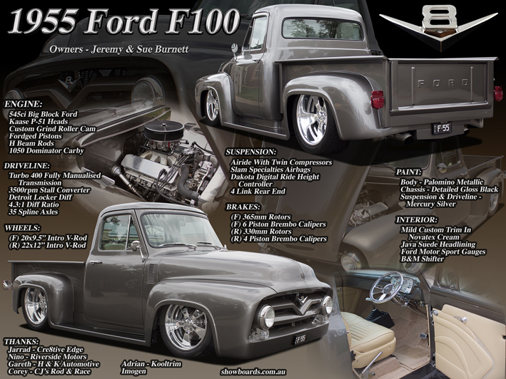 Ford F100 pickup car show board display board show boards australia