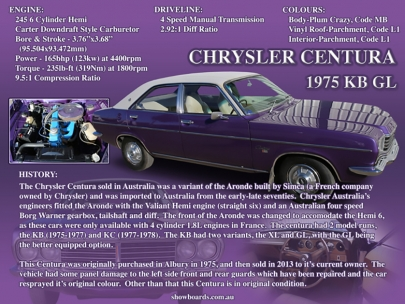 Chrysler Centura car show board display board show boards australia