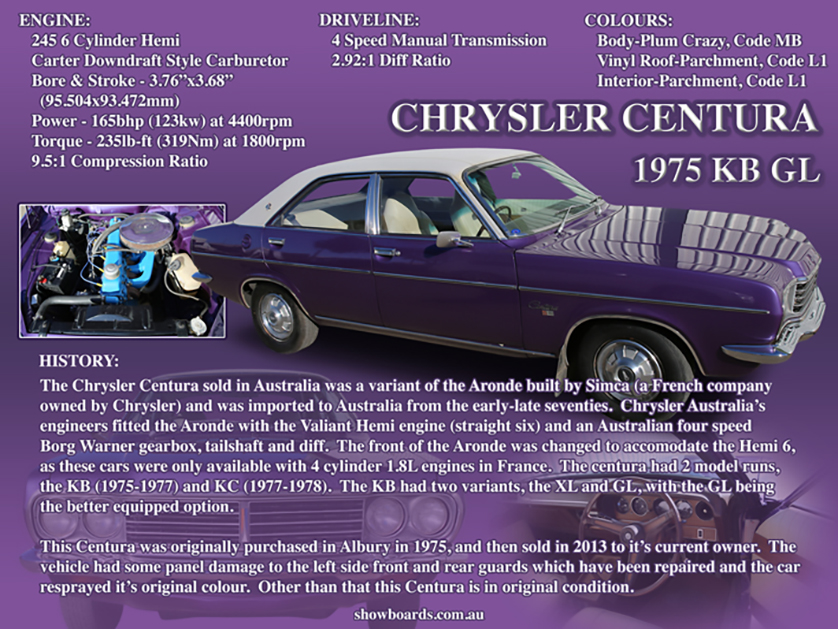 Chrysler Centura car show board display board show boards australia