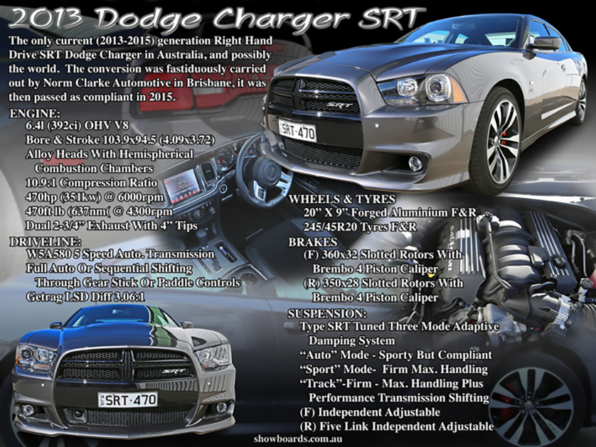 Dodge Charger SRT car show board display board show boards australia