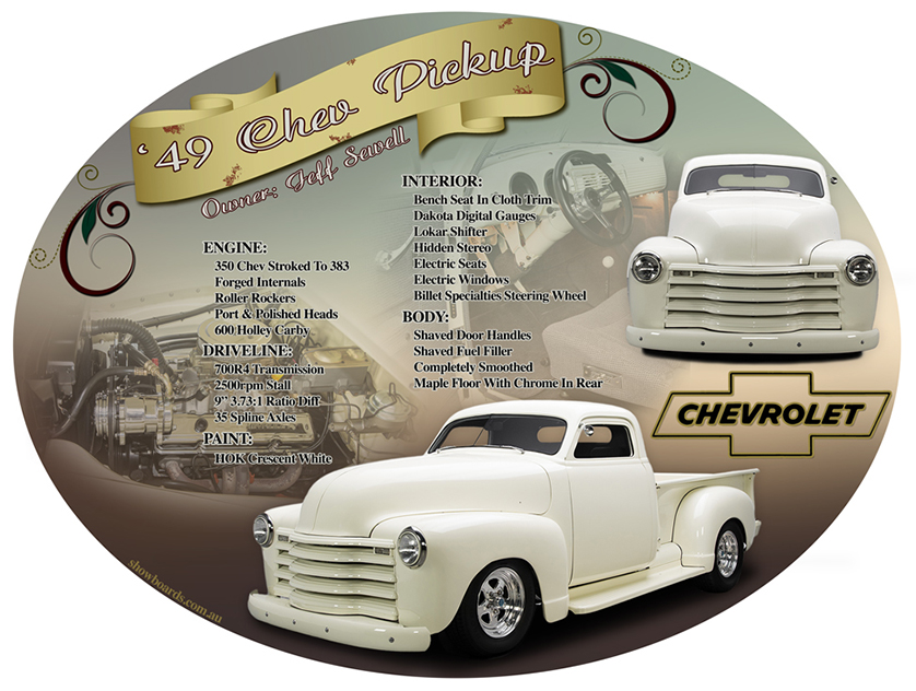 Chev pickup ute special oval car show board display board show boards australia