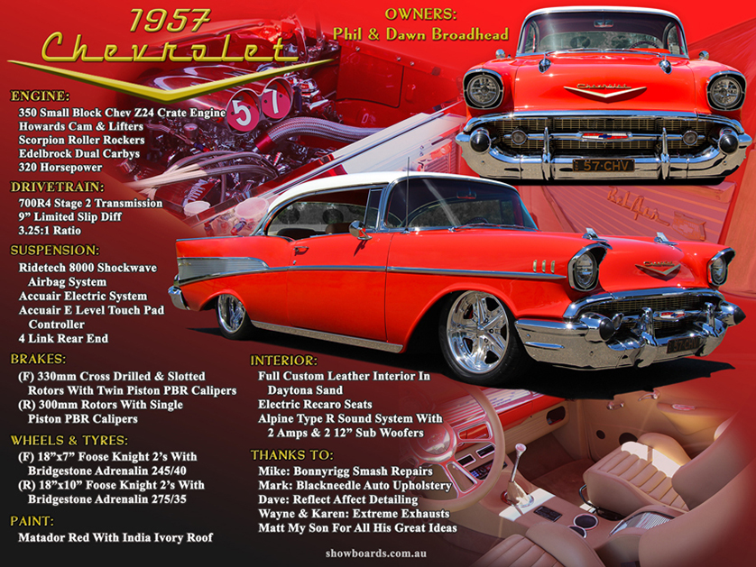 1957 Chevrolet car show board display board design show boards australia