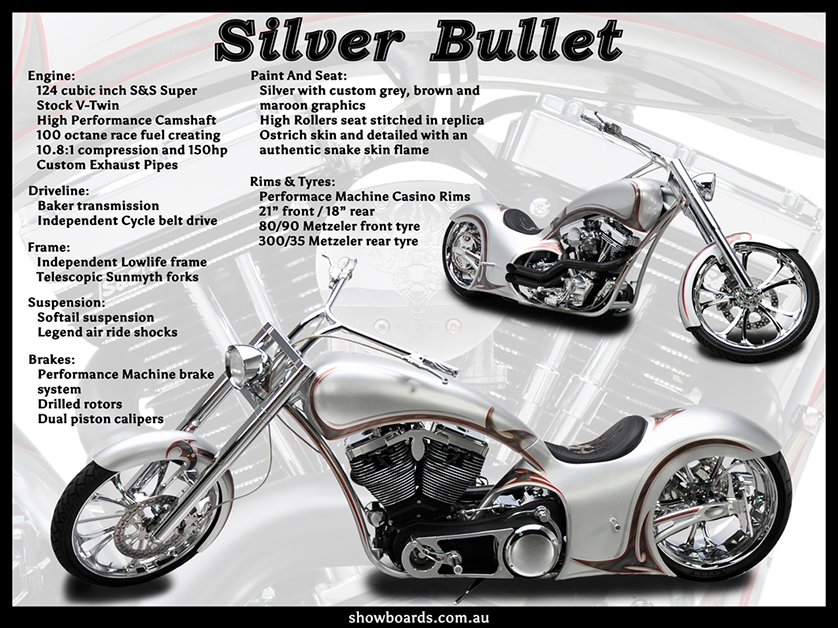 Chopper Harley Davidson motorcycle motorbike show board display board show boards australia