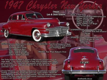Chrysler New Yorker car show board display board show boards australia