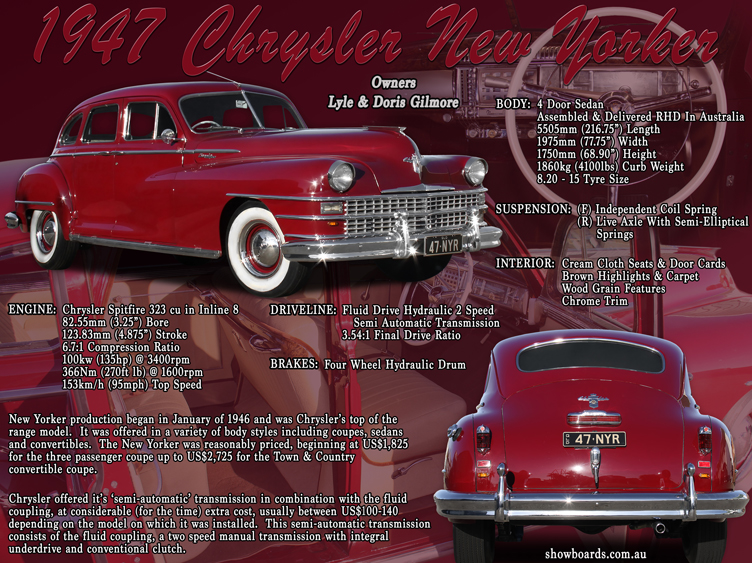 Chrysler New Yorker car show board display board show boards australia