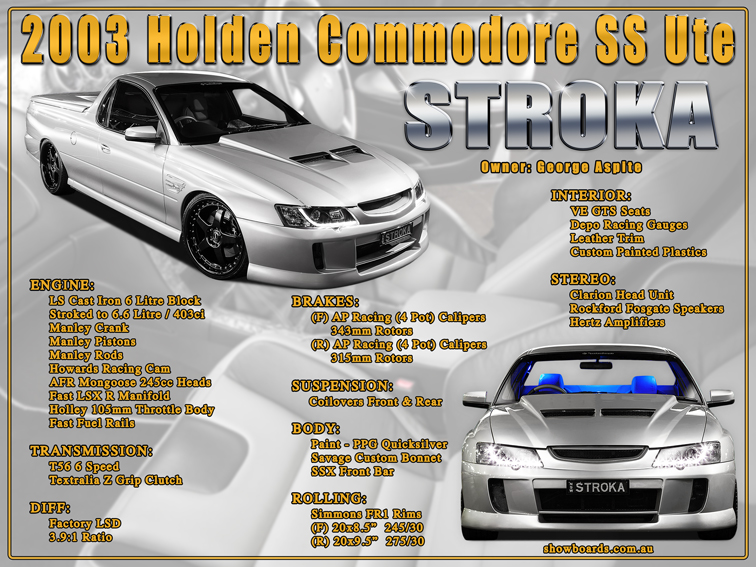 Holden Commodore Ute Car Show Board Display Board