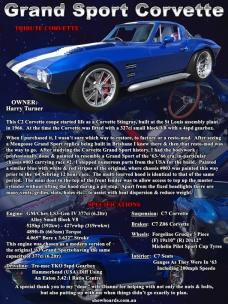 Corvette Grand Sport Tribute Car show board display board design show boards australia