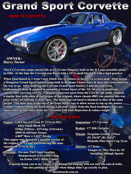 Corvette Grand Sport Tribute Car show board display board design show boards australia