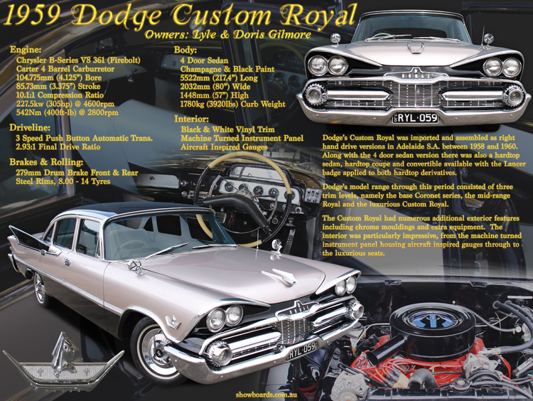Dodge Custom Royal Car Show Board Display Board Design Show Boards Australia