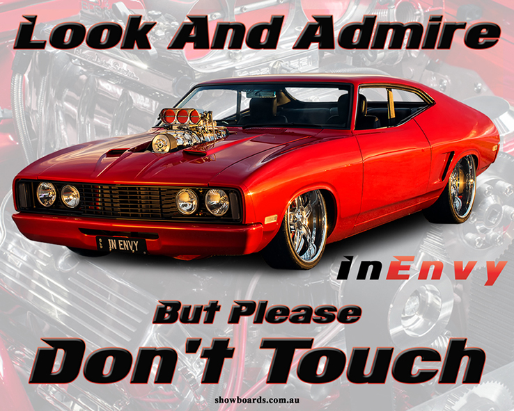 Ford Falcon XC Coupe In Envy Look & admire do not touch sign
