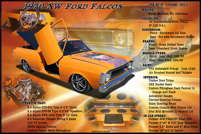 Ford XW ute car show board display board show boards australia
