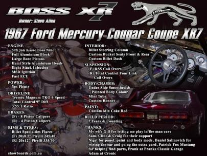 Ford Cougar car show board display board show boards australia