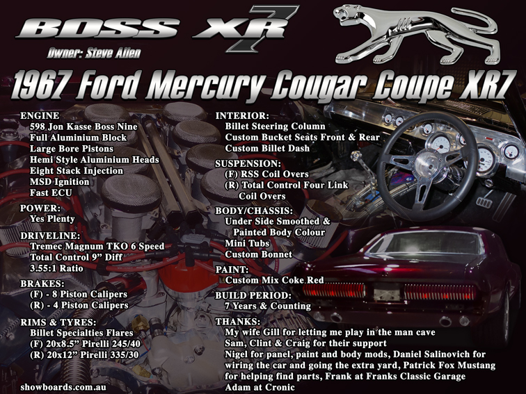 Ford Cougar car show board display board show boards australia