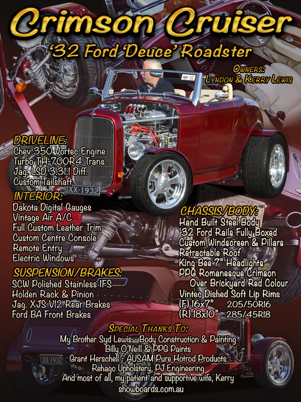 Ford Roadster Hot Rod car show board display board show boards australia