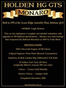 Holden HG GTS Monaro Show Board Display Board