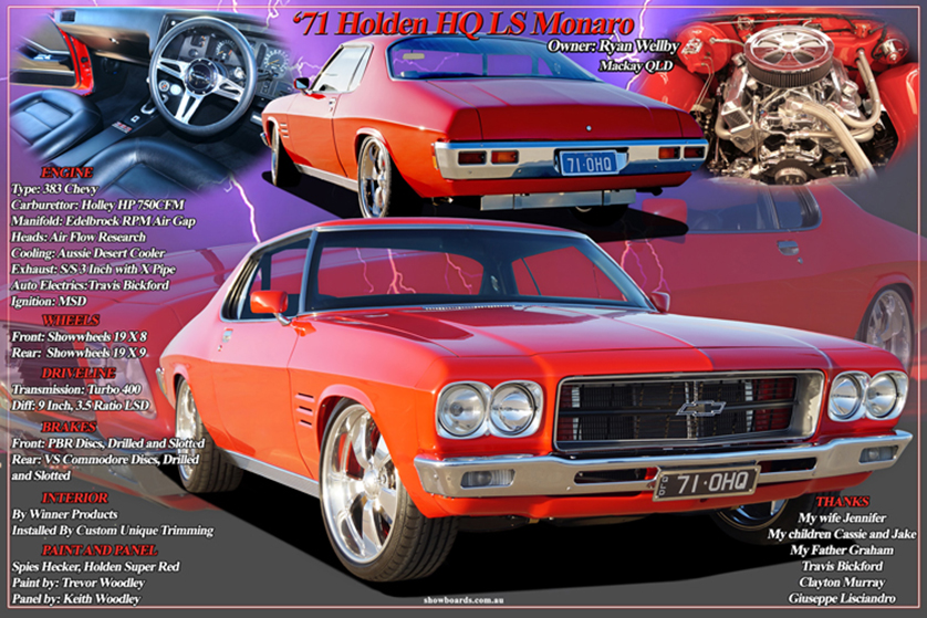 Holden HQ Monaro car show board display board show boards australia