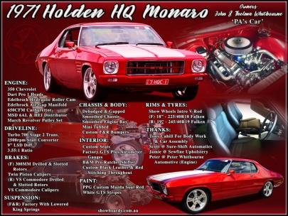 Holden Monaro show board display board show boards australia