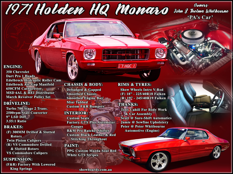 Holden Monaro Car show board display board show boards australia