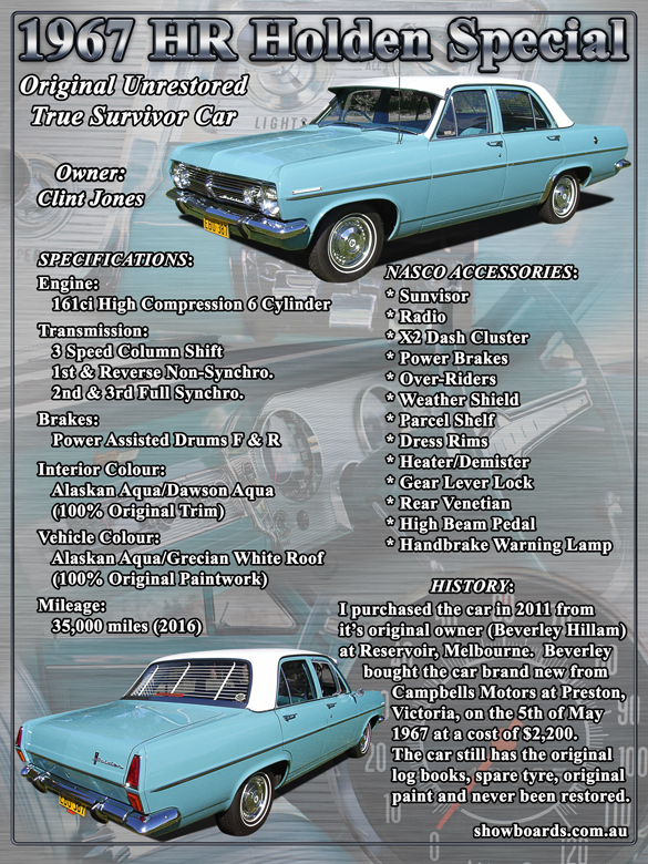 1967 Holden HR Sedan Car Show Board Display Board