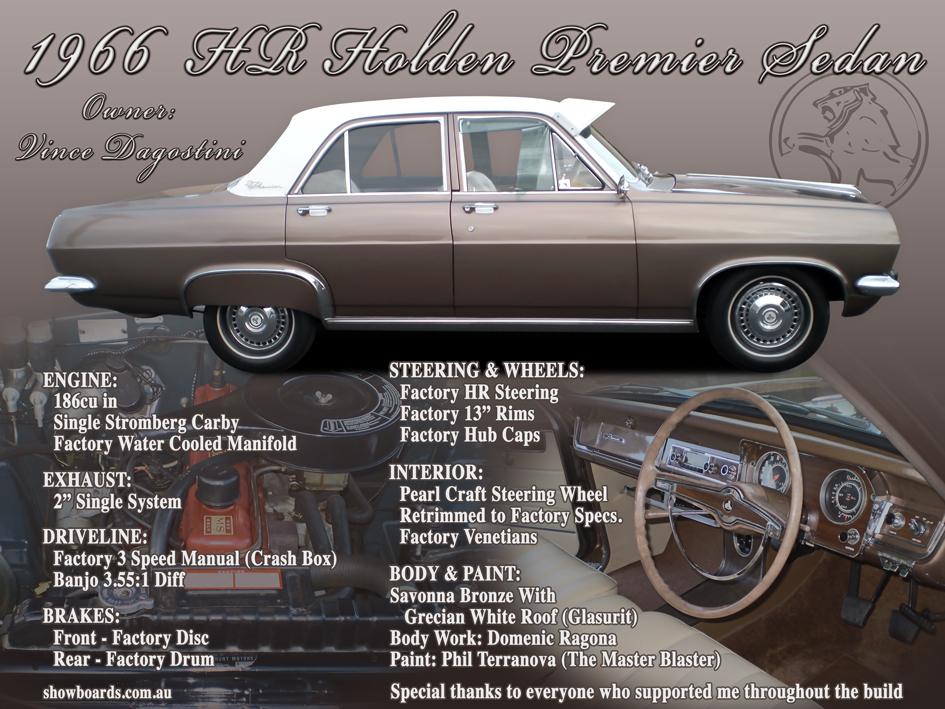Holden HR sedan car show board display board show boards australia