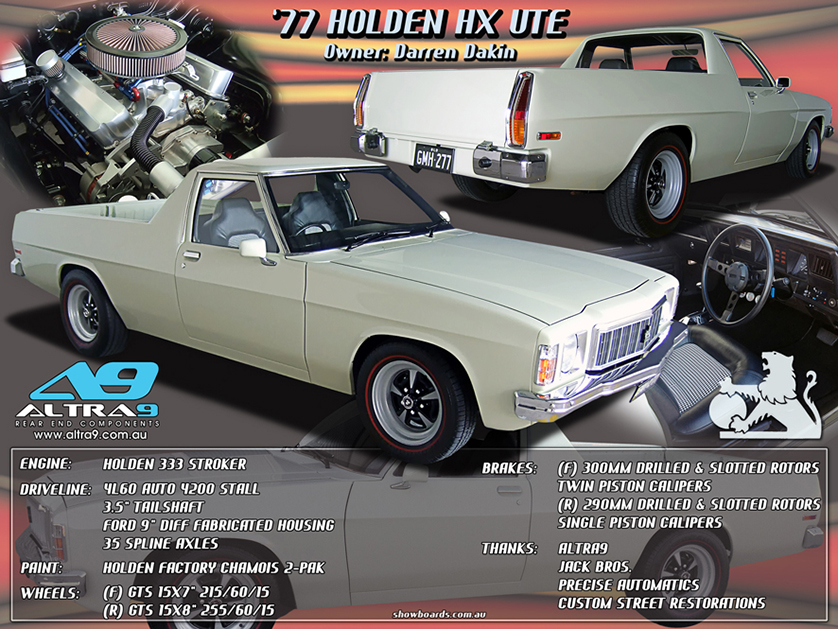 Holden Ute car show board display board show boards australia
