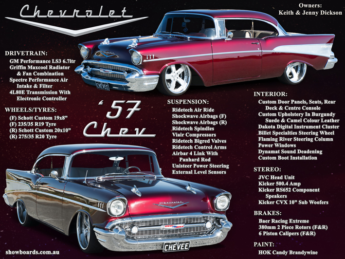 1957 Chev car show board display board show boards australia