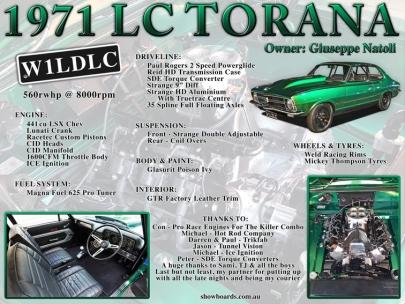 Holden LC Torana Show Board Display Board