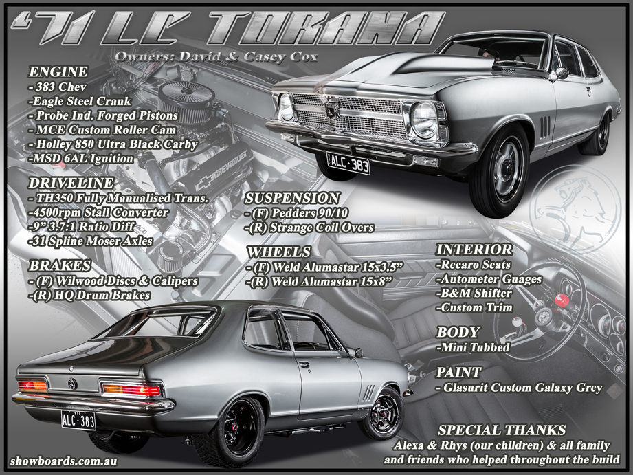 Holden Torana Car show board display board design show boards australia