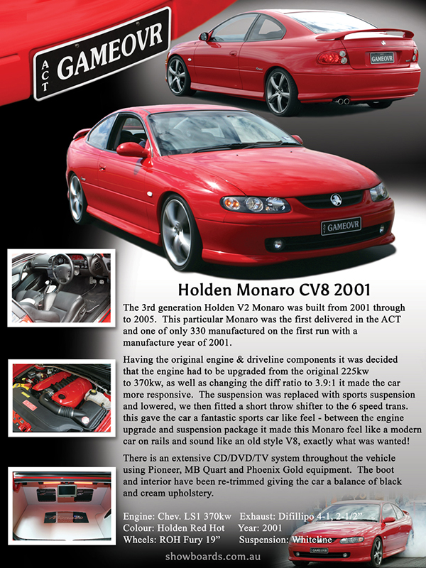 Holden Monaro CV8 car show board display board show boards australia