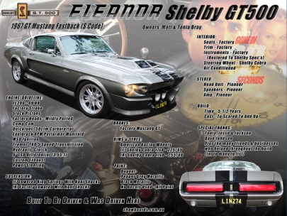 Ford Mustang Eleanor GT500 Show Board Display Board