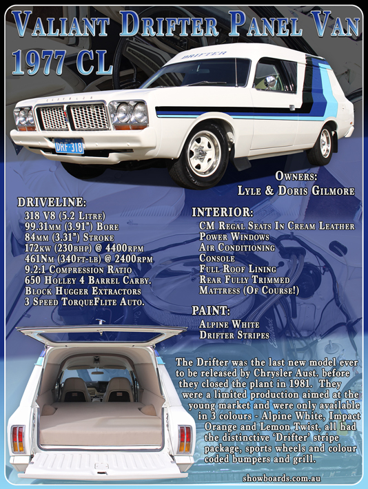 Valiant Drifter Panel Van Car show board display board design show boards australia