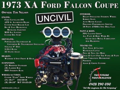 Ford Falcon show board display board design show boards australia