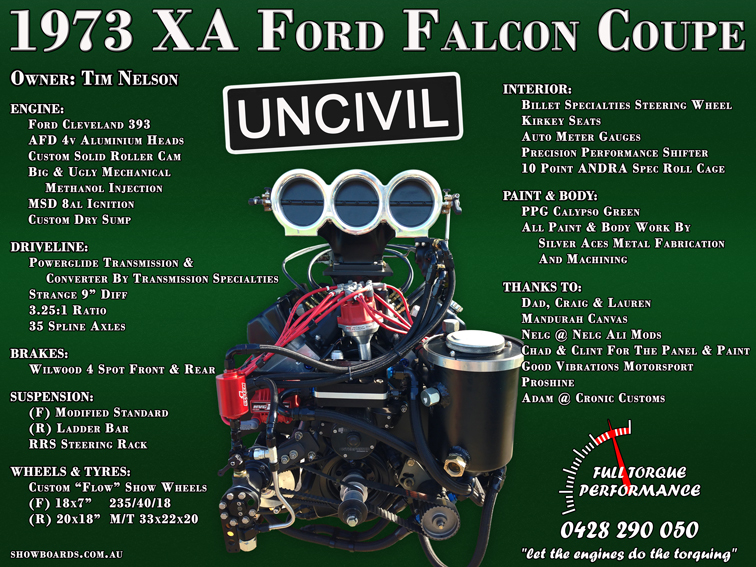 Ford Falcon Car show board display board design show boards australia