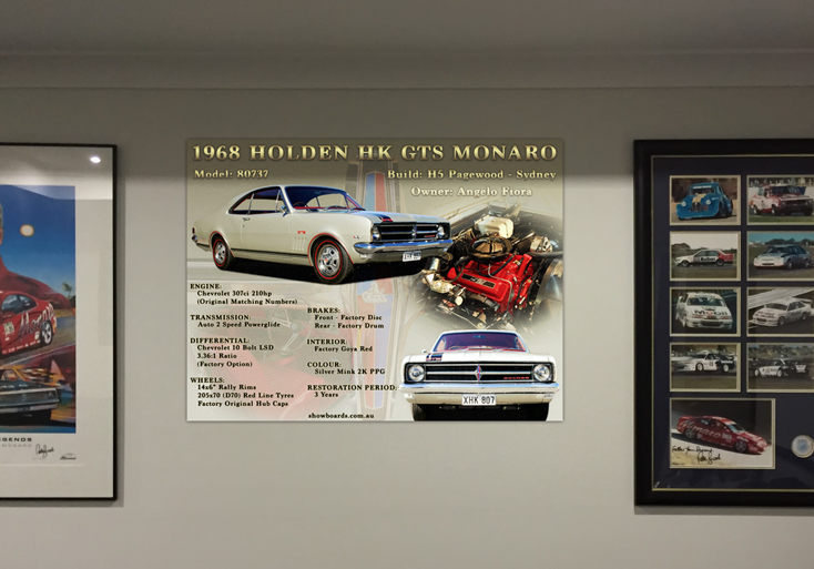 Holden HK GTS Monaro Acrylic Perspex car show board display board show boards australia
