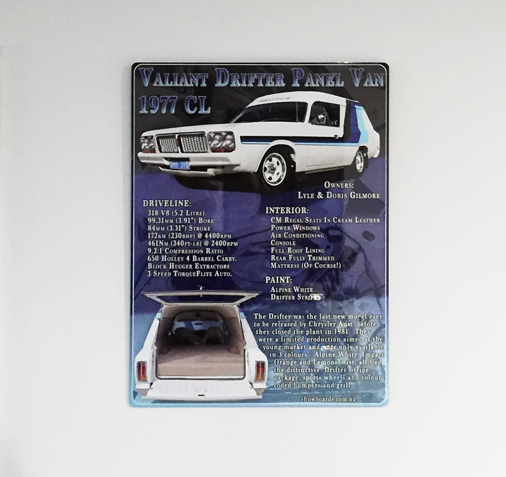 Valiant Drifter Van acrylic perspex car show board display board show boards australia