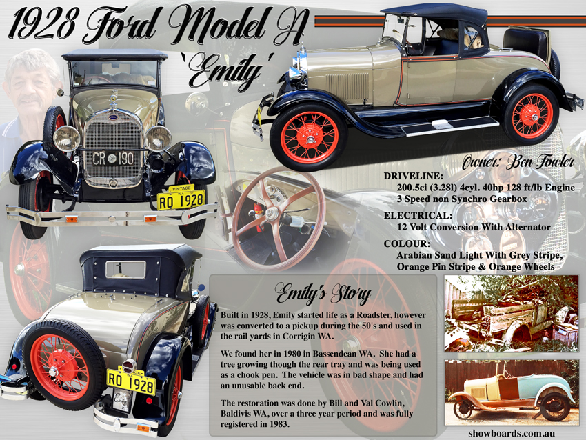 1928 Ford Model A Car Show Board Display Board