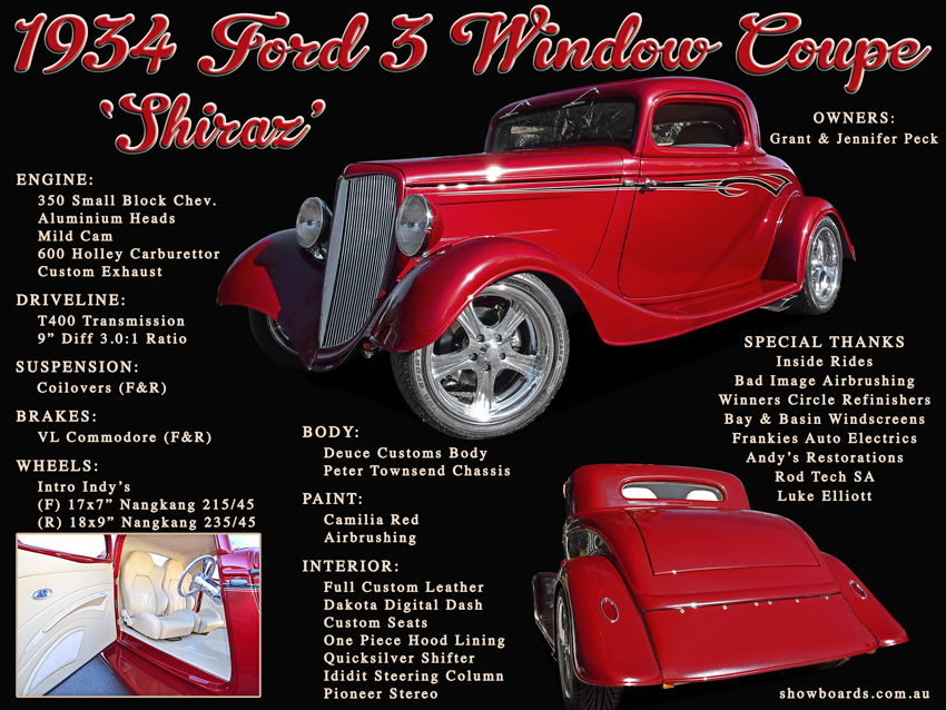 1934 Ford 3 Window Coupe Hot Rod Car Show Board Display Board